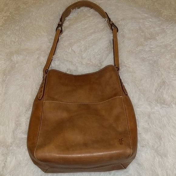 Frye Handbags - Frye Brown Leather Reed Hobo Magnetic Snap Bag